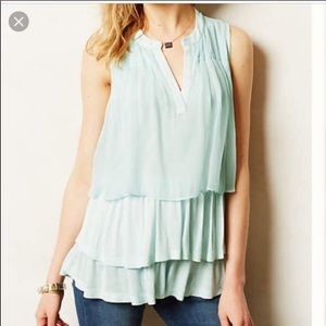 Anthro Clu + Willoughby Tiered Chiffon Layered Top